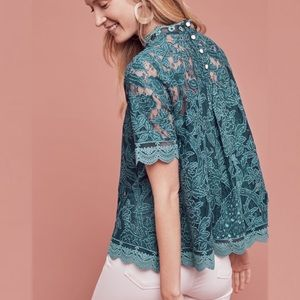 Anthropologie HD in Paris Teal Lace Blouse